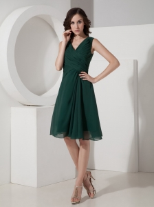 Dama Dress Dark Green V-neck Mini-length Empire Ruched