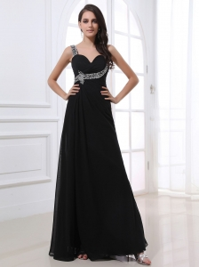 Black Prom Dress Chiffon One Shoulder Beading Long