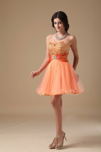 Orange Cocktail Homecoming Dress Beading Mini-length
