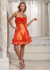 Homecoming Dress Mini Orange Red Hand Made Flowers