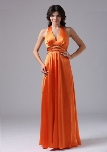 V-neck Halter Evening Celebrity Dress Orange Red Pailette