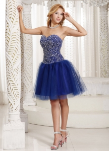 Beaded Prom Homecoming Dress Knee-length Peacock Blue