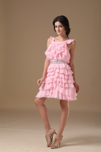 Baby Pink Mini Ruffle Beading Cocktail Graduation Dress