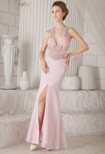 Appliques Evening Pageant Dress Baby Pink Column V-neck