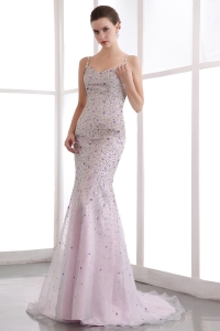 Beaded Prom Celebrity Dress Pink Mermaid Straps Brush Train