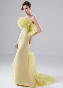Prom Dress Mermaid Strapless Brush/Sweep Yellow Organza