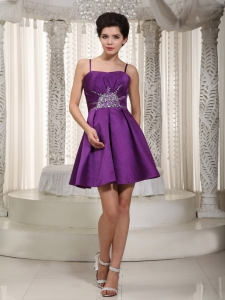 Beaded Dama Dress for Quinces Purple Straps Mini-length