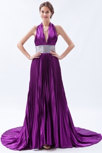 Pleat Evening Celebrity Dress Sequin Purple Halter Court Train