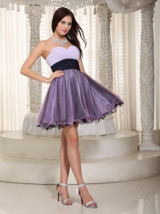 Sweetheart Prom Cocktail Dress Mini-length Ruch Purple Lilac