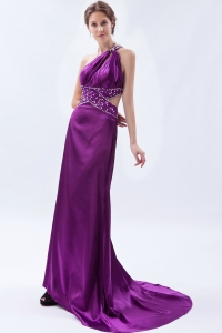 Beaded Evening Celebrity Dress One Shoulder Purple Brush