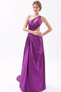 One Shoulder Evening Pageant Dress Purple Brush Train Ruch
