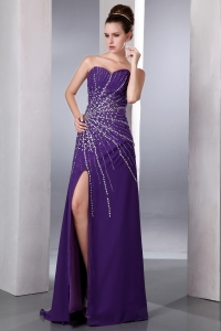Prom Celebrity Dress High Slit Sweetheart Beading Purple