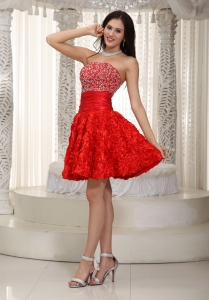 Fabric with Rolling Flowers Graduation Dress Beading Red