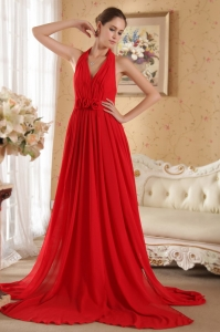 Handle Flowers Prom Evening Dress Red Halter Court Train