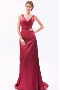 Red V-neck Evening Pageant Dress Brush Train Ruch Column