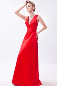 V-neck Straps Prom Evening Dress Red Column Ruch Sash
