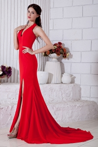 V-neck Halter Celebrity Pageant Dress Red Empire Court Train