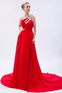 Red One Shoulder Evening Pageant Dress Court Train Appliques