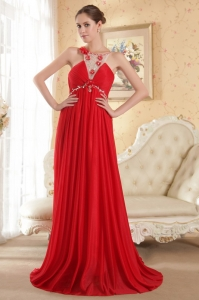 Prom Evening Dress Red Scoop Court Train Beading Empire