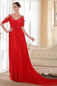 Red V-neck Prom Evening Dress Chapel Train Beading