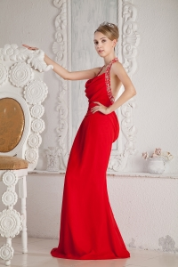 Sexy Back Celebrity Evening Dress Halter Red Ruch Beading