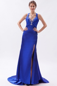 Royal Blue Evening Celebrity Dress Brush Train Beading Straps