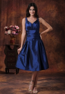 Royal Blue Dama Dress for Quinceanera With V-neck Straps