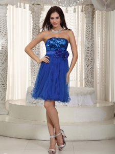 Organza Sequin Prom Cocktail Dress Royal Blue Bowknot Mini