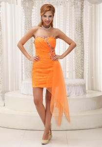 Ruched Beaded Prom Homecoming Dress Orange Sweetheart