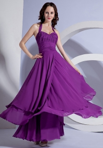 Halter Top Prom Dress Chiffon Ruching Purple Ankle-length