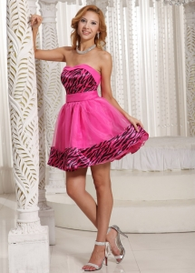 Zebra Homecoming Cocktail Dress Hot Pink Mini-length