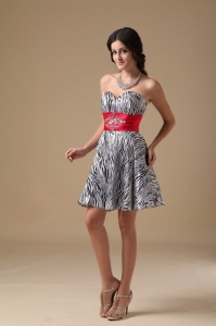 Cocktail Homecoming Dress Zebra Sweetheart Mini-length