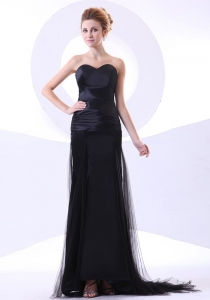 Column Black Prom Evening Dress Sweetheart Brush Train