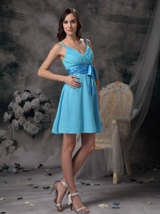 Aqua Blue Dama Dress For Quinceanera Straps Sash Chiffon