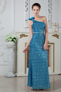 Sequins Celebrity Evening Dress Teal One Shoulder Beading