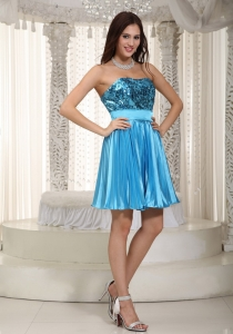 Sequins Prom Cocktail Dress Teal Mini-length Beading Empire