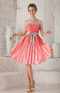 Watermelon Dama Dress for Quinceanera Knee-length Bow Pleat