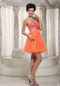 Mini-length Cocktail Holiday Dress Watermelon Yellow Beaded