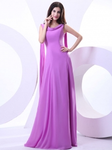Watteau Train Prom Dress Lavender Chiffon Scoop Neck