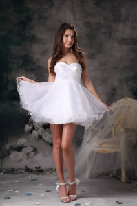 A-line Dama Dress Sweetheart White Mini-length Mini-length