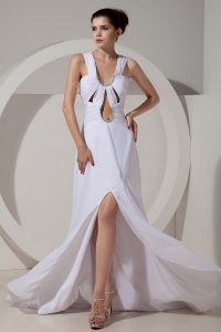 High Slit Prom Celebrity Dress White Straps Beading Ruch