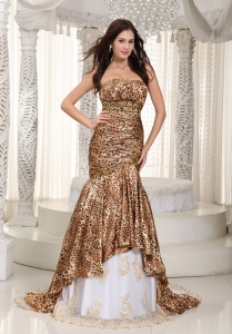 Leopard Celebrity Pageant Dress Mermaid Court Beading