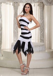 White and Black Prom Cocktail Dress Mermaid Ruch Ruffles