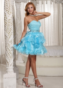 Ruffles Prom Homecoming Dress Aqua Blue Ruched Beading