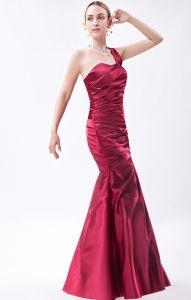 One Shoulder Ruched Prom Evening Dress Wine Red Mermaid