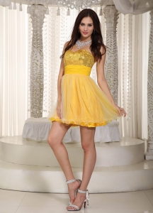 Sequins Cocktail Homecoming Dress Yellow Mini-length Ruch
