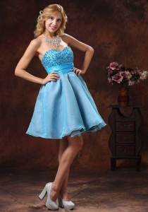 Beaded Cocktail Graduation Dress Baby Blue Sweetheart Mini