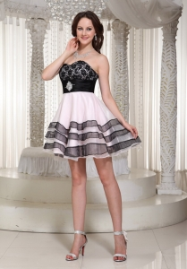 Pink Black Prom Homecoming Dress Sweetheart Mini-length