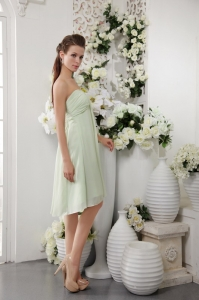 Knee-length Dama Dress Apple Green Empire Chiffon Ruching