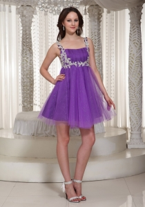 Appliques Homecoming Dress Straps Mini-length Purple